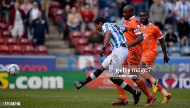 Jermaine Beckford of Huddersfield scores his second goal during the npower Championship match between Huddersfield Town and Millwall at John Smith's...