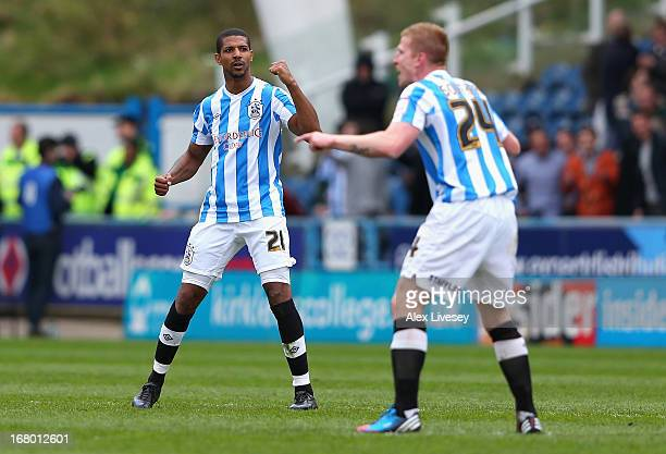 Jermaine Beckford of Huddersfield Town celebrates scoring his side's equalising goal during the npower Championship match between Huddersfield Town...