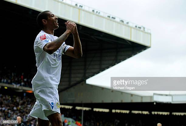 Jermaine Beckford of Leeds United celebrates scoring to make it 21 during the Coca Cola League One match between Leeds United and Bristol Rovers at...