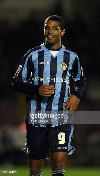 Jermaine Beckford of Leeds United in action during the FA Cup sponsored by eon First Round Replay between Northampton Town and Leeds United at...