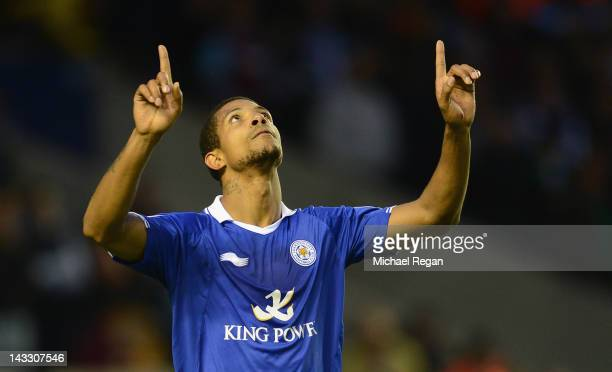 Jermaine Beckford of Leicester celebrates scoring to make it 10 during the npower Championship match between Leicester City and West Ham United at...