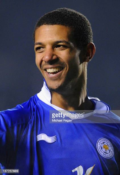 Jermaine Beckford of Leicester celebrates scoring to make it 40 and his hattrick during the FA Cup Third Round Replay between Nottingham Forest and...