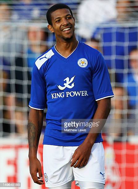 Jermaine Beckford of Leicester City in action during the PreSeason Friendly match between Burton Albion and Leicester City at the Pirelli Stadium on...