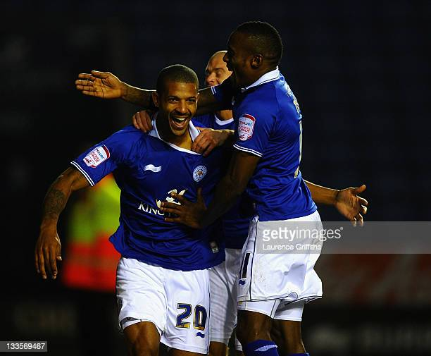 Jermaine Beckford of Leicester City is mobbed after scoring the opening goal during the npower Championship match between Leicester City and Crystal...