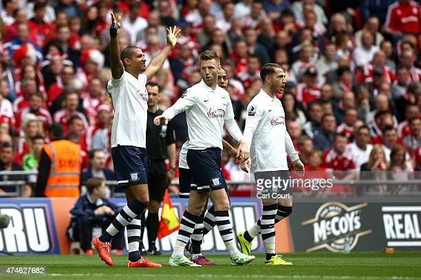 Jermaine Beckford of Preston North End celebrates after scoring during the League One playoff final between Preston North End and Swindon Town at...