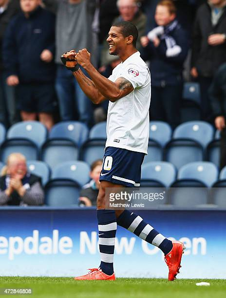 Jermaine Beckford of Preston North End celebrates as he scores their first goal during the Sky Bet League One Playoff SemiFinal second leg match...