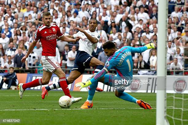 Jermaine Beckford of Preston North End scores his third goal during the League One playoff final between Preston North End and Swindon Town at...