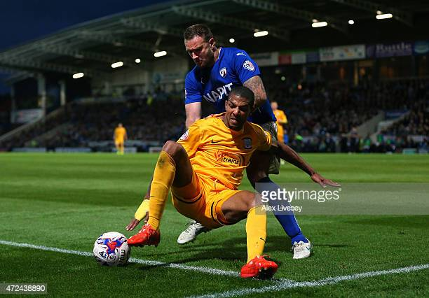 Jermaine Beckford of Preston North End shields the ball from Ian Evatt of Chesterfield during the Sky Bet League One Playoff SemiFinal first leg...