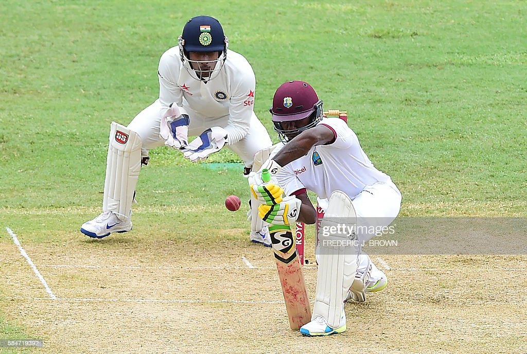 Jermaine Blackwood of the West Indies plays a shot off a delivery from Indian bowler Amit Mishra in the 23rd over on July 30, 2016 in Kingston, Jamaica on the first day of the 2nd Test between India and the West Indies. / AFP / Frederic J. BROWN