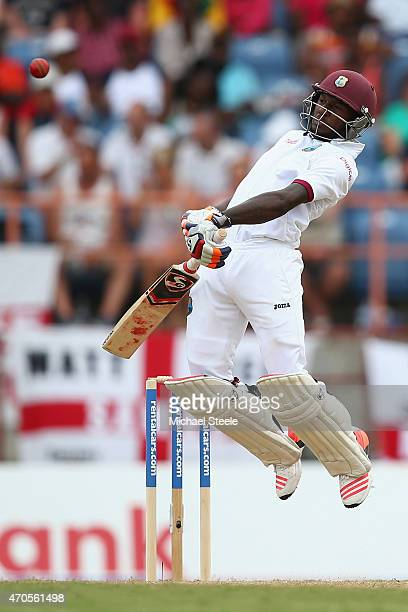 Jermaine Blackwood of West Indies avoids a bouncer from James Anderson of England during day one of the 2nd Test match between West Indies and...