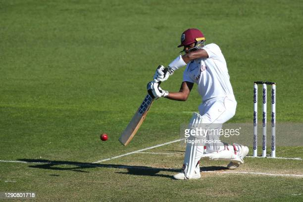 Jermaine Blackwood of West Indies bats during day two of the second test match in the series between New Zealand and the West Indies at Basin Reserve...