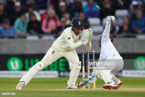 Jermaine Blackwood of West Indies is stumped by Jonny Bairstow off the bowling of Moeen Ali during day three of the 1st Investec Test match between...