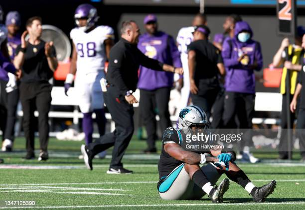 Jermaine Carter Jr. #4 of the Carolina Panthers sits on the field after the 34-28 loss to the Minnesota Vikings at Bank of America Stadium on October...