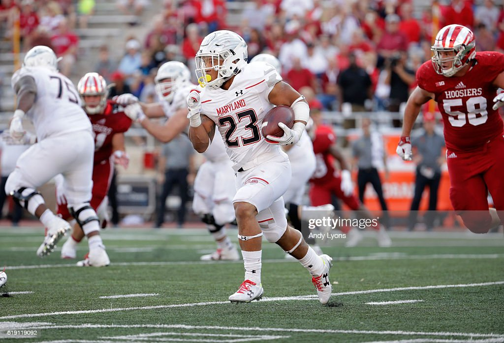 Jermaine Carter Jr #23 of the Maryland Terrapins runs with the ball in the game against the Indiana Hoosiers at Memorial Stadium on October 29, 2016 in Bloomington, Indiana.