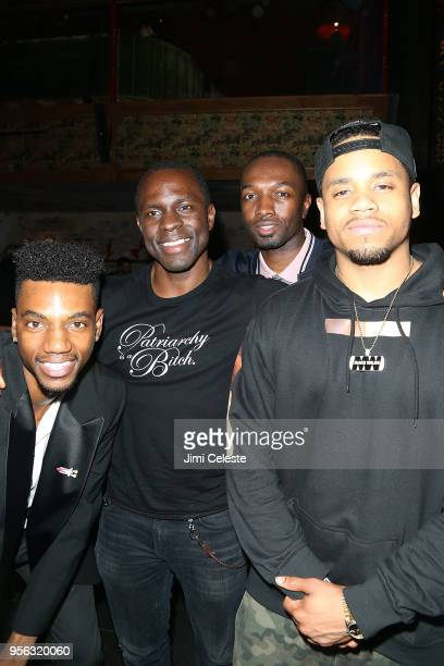 Jermaine Crawford Gbenga Akinnagbe Jamie Hector and Mack Wilds attend the Farenheit 451 New York premiere after party at Tao Downton on May 8 2018 in...