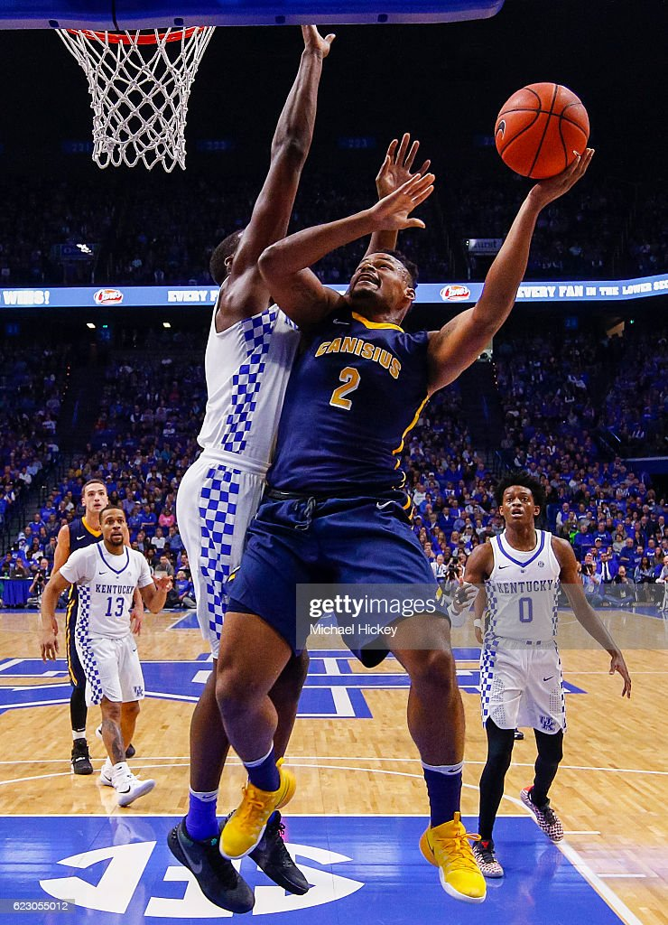 Jermaine Crumpton #2 of the Canisius Golden Griffins shoots the ball as Edrice Adebayo #3 of the Kentucky Wildcats defends at Rupp Arena Stadium on November 13, 2016 in Lexington, Kentucky. Kentucky defeated Canisius 93-69.