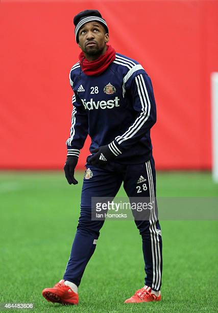 Jermaine Defoe during a Sunderland AFC training session at the Academy of Light on February 26, 2015 in Sunderland, England.