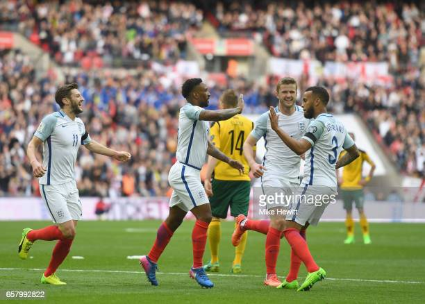 Jermaine Defoe of England celebrates with Ryan Bertrand after scoring his sides first goal during the FIFA 2018 World Cup Qualifier between England...