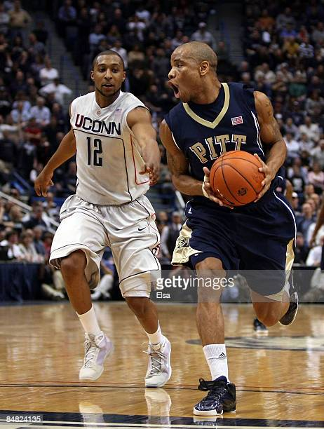 Jermaine Dixon of the Pittsburgh Panthers steals the ball from AJ Price of the Connecticut Huskies on February 16 2009 at XL Center in Hartford...