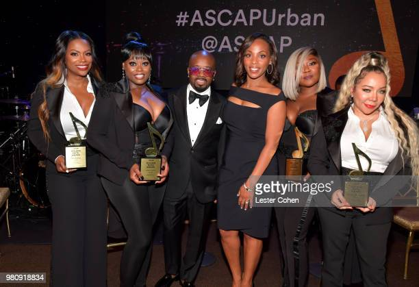 Jermaine Dupri and ASCAP Senior Vice President Membership Nicole GeorgeMiddleton poses with Kandi Burruss Tamika Scott LaTocha Scott and Tameka...