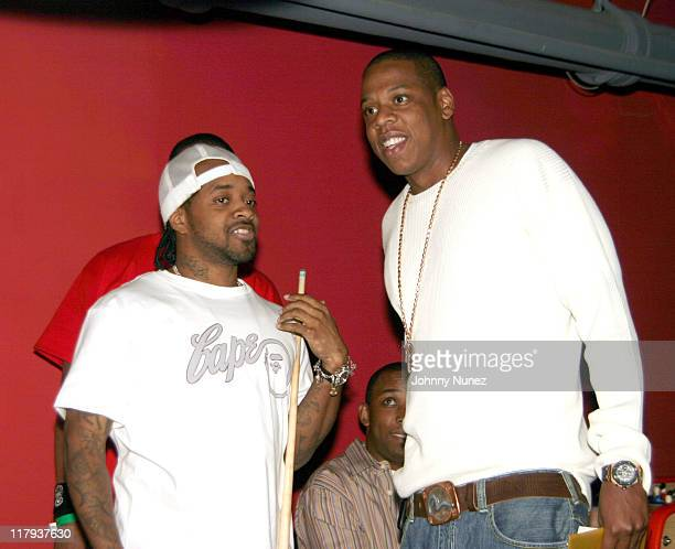 Jermaine Dupri and JayZ during Free Presents BreakCelebrity Pool Tournament 2004 Presented by Boost Mobile at Slate in New York City New York United...