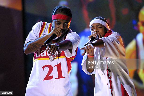 Jermaine Dupri and Lil' Bow Wow perform at the 2002 NBA All Star Read To Achieve celebration at the Pennsylvania Convention Center in Philadelphia Pa...