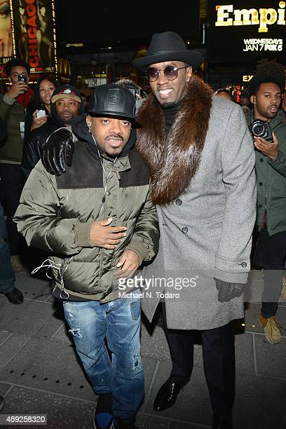 Jermaine Dupri and Sean Diddy Combs attend CIROC Step Into The Circle Launch hosted by Sean Diddy Combs in Times Square on November 19 2014 in New...
