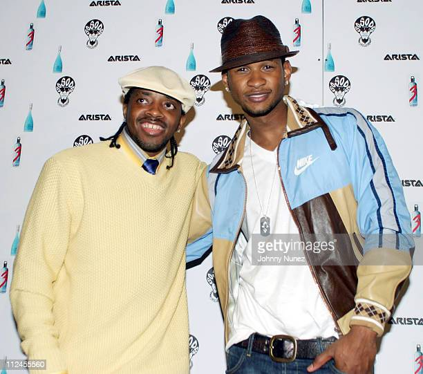 Jermaine Dupri and Usher during Jermaine Dupri's MTV Video Music Awards Party at Roy Liebenthal's Pop Burger in New York City New York United States