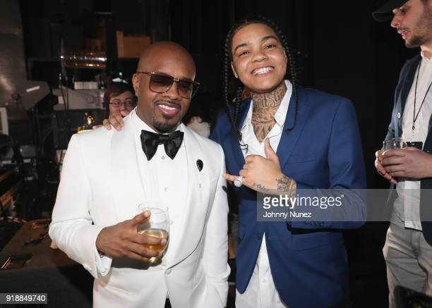 Jermaine Dupri and Young MA attend the 2018 Global Spin Awards at The Novo by Microsoft on February 15 2018 in Los Angeles California