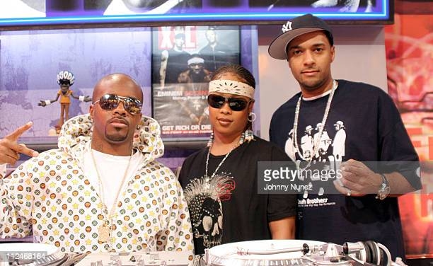 Jermaine Dupri Da Brat and Mad Linx during Bow Wow Jermaine Dupri and Da Brat Visit BET's Rap City August 24 2005 at CBS Studios in New York New York...