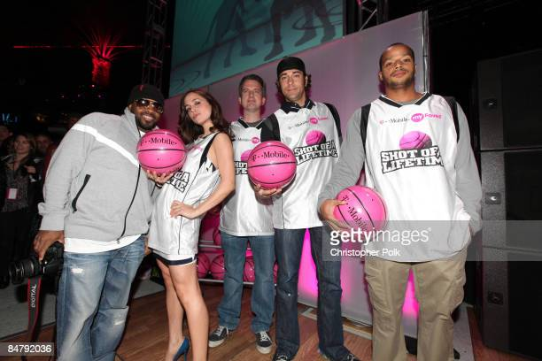 Jermaine Dupri Eliza Dushku Bill Simmons Zachary Levi and Donald Faison during the celebrity launch of the TMobile myFaves Shot of a Lifetime...