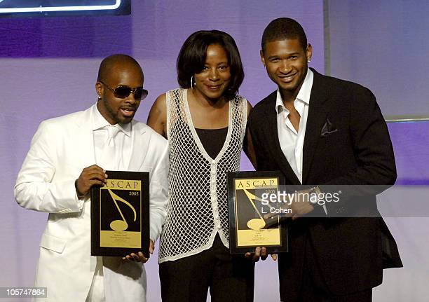 Jermaine Dupri Jeanie Weems and Usher during 2005 ASCAP Pop Awards Show at Beverly Hilton Hotel in Beverly Hills California United States