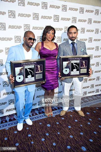 Jermaine Dupri Nicole George and Johnta Austin attend The 23rd Annual ASCAP Rhythm Soul Music Awards at The Beverly Hilton hotel on June 25 2010 in...