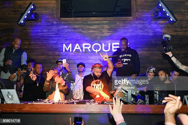 Jermaine Dupri Swizz Beatz Lewis Hamilton DJ Khaled and Timbaland attend the Marquee Takeover at Verso Big Game Weekend presented by Hennessy VS Day...