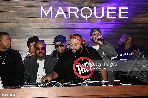 Jermaine Dupri Timbaland DJ Khaled and Swizz Beatz attend the Marquee Takeover at Verso Big Game Weekend presented by Hennessy VS Day 4 on February 7...