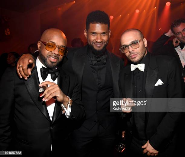 Jermaine Dupri Usher and Richie Akiva attend Sean Combs 50th Birthday Bash presented by Ciroc Vodka on December 14 2019 in Los Angeles California