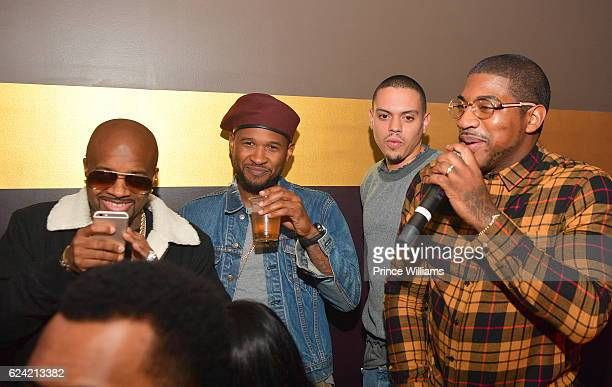 Jermaine Dupri Usher Evan Ross and DJ Holiday attend the Commission weekend Kickoff at Josephine Lounge on November 18 2016 in Atlanta Georgia