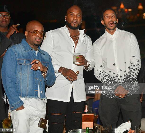 Jermaine Dupri Young Jeezy and Chris 'Ludacris' Bridges attend Jeezy's Birthday Dinner and Cocktails at American Cut on October 2 2016 in Atlanta...