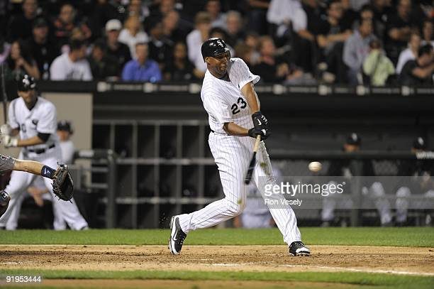 Jermaine Dye of the Chicago White Sox bats against the Minnesota Twins on September 21 2009 at US Cellular Field in Chicago Illinois The Twins...