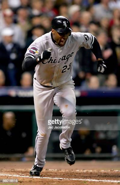 Jermaine Dye of the Chicago White Sox celebrates after hitting an RBI single in the eighth inning against the Houston Astros during Game Four of the...