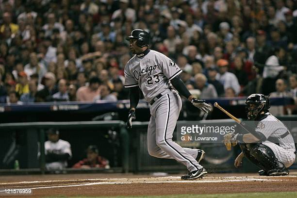Jermaine Dye of the Chicago White Sox doubles in the 1st inning during game 4 of the World Series against the Houston Astro's at Minute Maid Park in...