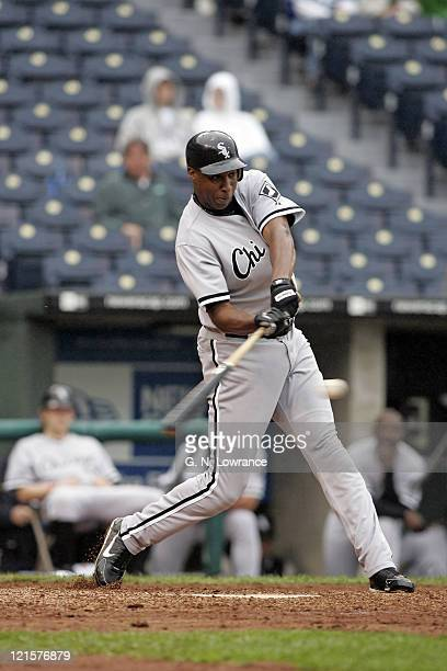 Jermaine Dye of the Chicago White Sox in action against the Kansas City Royals at Kauffman Stadium in Kansas City Missouri on September 15 2005 The...