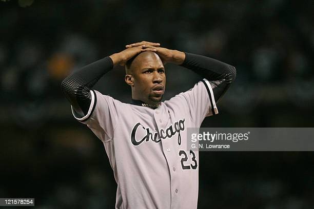 Jermaine Dye of the Chicago White Sox reacts after being stranded on base in the 1st inning during game 4 of the World Series against the Houston...