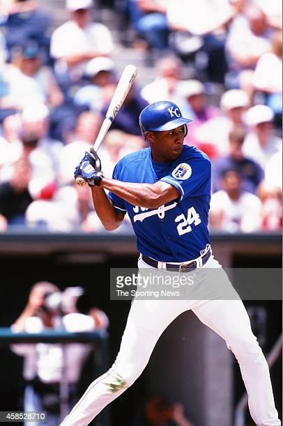 Jermaine Dye of the Kansas City Royals bats against the Seattle Mariners at Kauffman Stadium on May 23 1999 in Kansas City Missouri