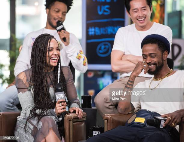 Jermaine Fowler, Tessa Thompson, Steven Yeun, and Lakeith Stanfield visit Build Studio to discuss 'Sorry to Bother You' at Build Studio on June 20,...