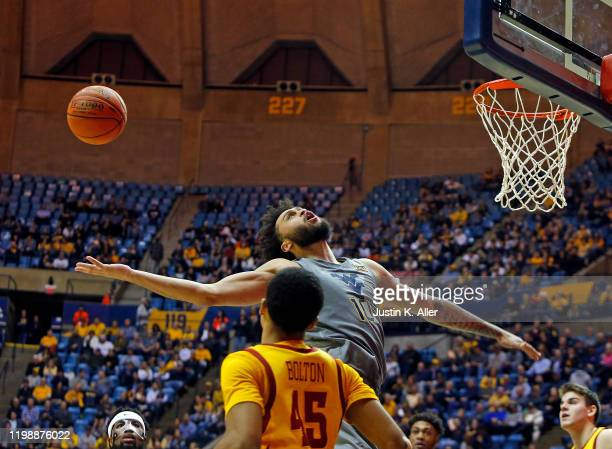 Jermaine Haley of the West Virginia Mountaineers battles for a rebound against the Iowa State Cyclones at the WVU Coliseum on February 5 2020 in...