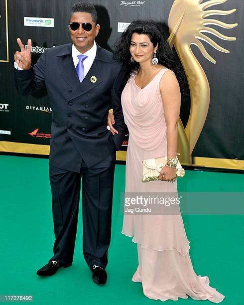Jermaine Jackson and Halima Rashid attend the IIFA Fashion Rocks green party at the Heritage Court Exhibition Place on June 24 2011 in Toronto Canada