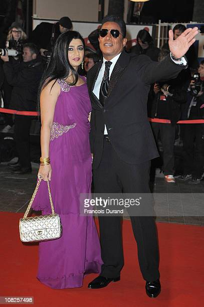 Jermaine Jackson and Halima Rashid attend the NRJ Music Awards 2011 on January 22 2011 at the Palais des Festivals et des Congres in Cannes France