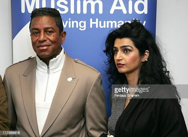 Jermaine Jackson and Halima Rashid during Muslim Aid News Conference with Jermaine Jackson at London Muslim Centre in London Great Britain