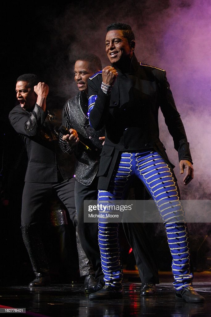 Jermaine Jackson and Marlon Jackson and Jackie Jackson performs at NIA Arena on February 26, 2013 in Birmingham, England.